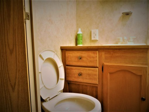 Flush Toilet and a hot Shower!